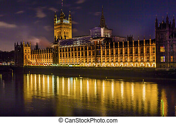 Houses of Parliament Westminster Bridge Night Westminster London England