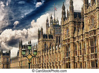Houses of Parliament, Westminster Palace, London gothic architecture. Rectilinear frontal view.