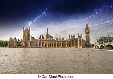 Houses of Parliament, Westminster Palace with Storm - London gothic architecture.