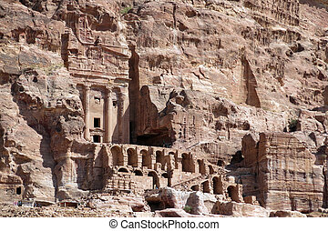 houses of Petra city in Jordan in the Middle East
