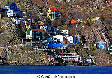 Houses of St.Johns Newfoundland Canada situated over the...