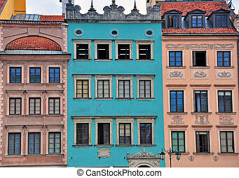 Houses of Warsaw - Facade of houses in Warsaw old town
