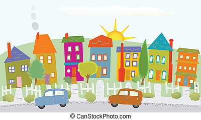 Stylized neighborhood houses on a hill, two cars, sunshine, trees
