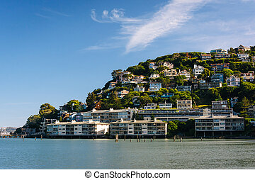 Houses on a hillside in Sausalito, California.