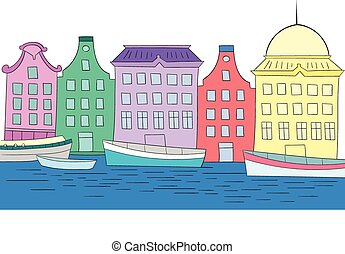 Houses on channel vector color illustration