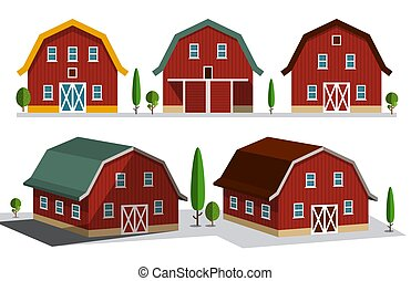 Houses on Farm. Farming Concept. Vector Buildings Set. Rural Scene.