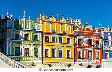 Houses on Great Market Square in Zamosc - Poland