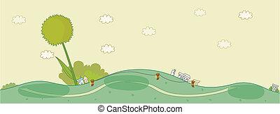 Houses on green landscape