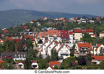 houses on hill Pecs Hungary