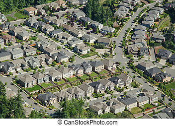 Houses on Hillside - Aerial