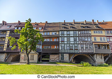 Houses on Kraemerbruecke - Merchants Bridge in Erfurt,...