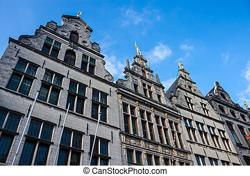 Houses on Market square in the center of Antwerp, Belgium