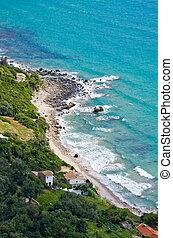 Houses on seashore of Corfu, Greece