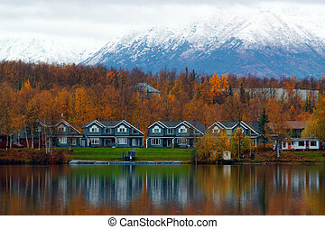 Houses on shore of lake in Wasilla