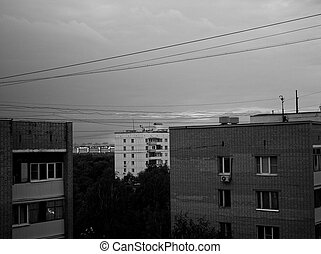 houses on the outskirts of Moscow in the evening