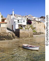Houses on the sea shore with a boat