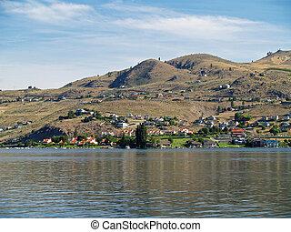 Houses on the Shore of Lake Chelan Washington USA