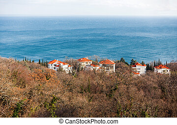 Houses on the shore of the Black sea. South part of Crimea island. Russia.