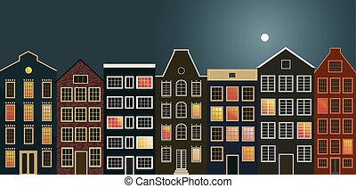Houses on the street in Holland.