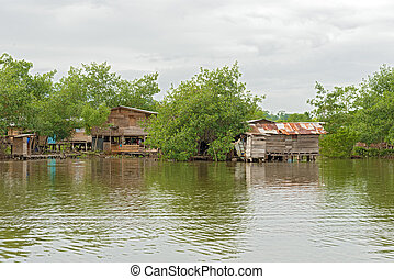 Houses on the water in Almirante, Panama - Almirante town in...