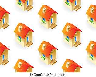 Houses on white background