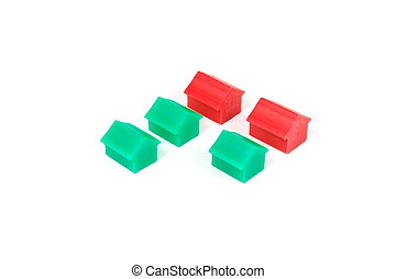 Houses on white - Some red and green houses on a whte...
