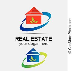 Houses real estate eco natural logo