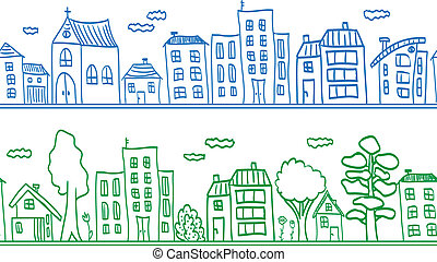 Houses seamless pattern background