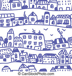 Houses seamless pattern doodle design