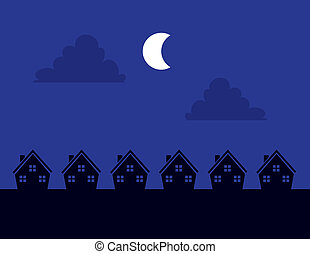 Houses Silhouette Night - Houses Silhouettes at night with...