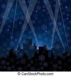Houses Silhouettes on Winter Night Starry Sky.