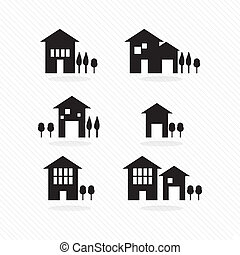 Houses silhouettes - Set of houses silhouettes, on white...