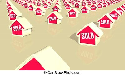 Houses Sold Loop HD - Computer generated animation of...
