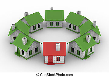 houses standing around on white background. Isolated 3D image