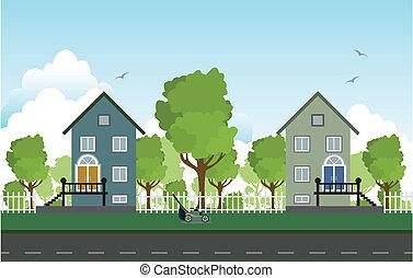 houses., straßenrand