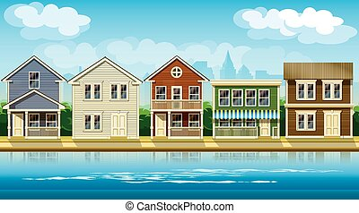 houses suburb - stylized vector illustration seamless...