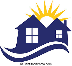 Houses sun and waves logo - Houses sun and waves icon vector