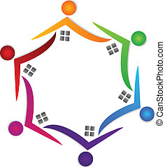 Houses teamwork colorful logo