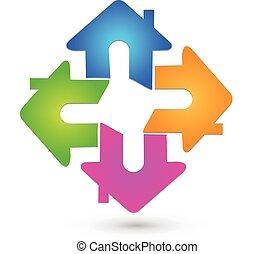 Houses teamwork logo