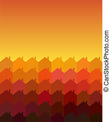 Houses tessellation warm - A vector illustration of rows of...