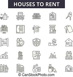 Houses to rent line icons, signs set, vector. Houses to rent outline concept, illustration: house, rent, home, sale, apartment, building, estate