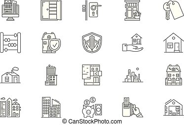 Houses to rent line icons, signs, vector set, outline illustration concept