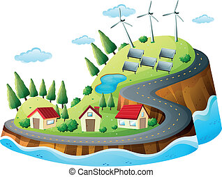 Houses, vanes and solar energy - Illustration of houses,...