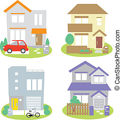 Houses - various houses, housing, vector