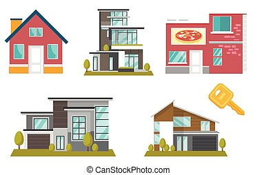 Houses vector cartoon illustrations set.