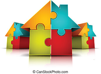 Houses - Vector illustration of houses made of puzzle.