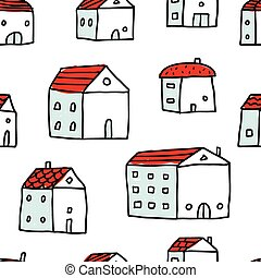 Houses, vector seamless pattern