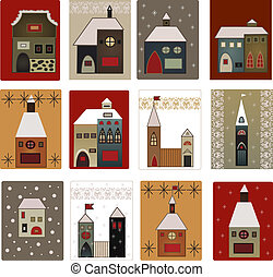 houses vector set for scrapbooking