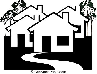 Houses Village in black and white vector