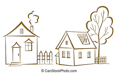 Houses with a tree, pictogram - cartoon, landscape: two...